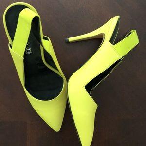 Neon yellow Aldo slingback heels